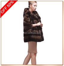 Wholesale Newest women winter overcoat short style splicing color mink coat with real natural mink fur hooded jacket