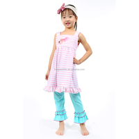 Pink Stripes Cotton Dress Clothing Set Spring Cotton Aqua Pant Outfit Girls Fashionable Outfits