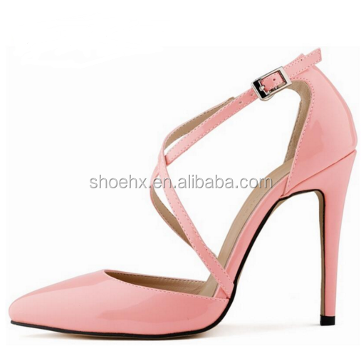 2016 Newest Pink women shoes pumps, Sexy Cross Straps women shoes, Beautiful Thin Heels Pointed Toe women shoes