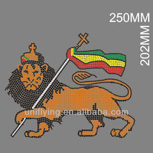 the king of lion iron on motif rhinestone design