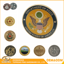 Zhongshan promotional classic crafts & gifts cheap metal souvenir custom military challenge coin