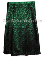Lace on Bold Color Satin Skirt
