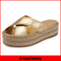 fashion espadrille shoes gold leather thick platform slipper