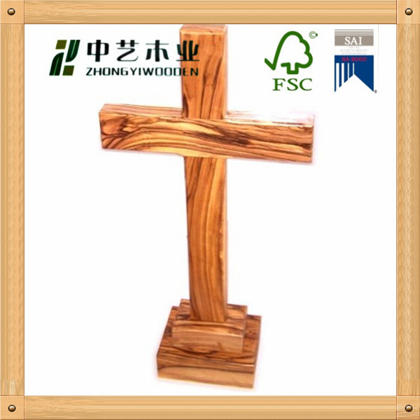 Hot sell Christmas ornament natural color solid pine Wooden crucifix crosses wholesale