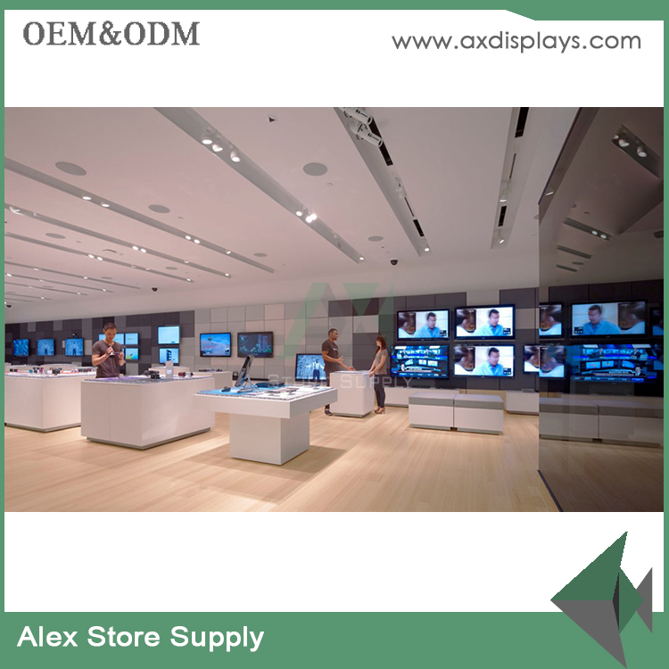 European style wood/glass/acrylic mobile phone shop decoration mobile phone shop furniture