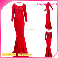 Red Summer Fishtail Open Back Long Sleeve Bodycon Dress Cheap Party Dresses For Women
