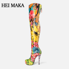 2018 Luxury Full Color Floral Pattern Genuine Leather Thigh High Heel Boots Platform Women Shoes