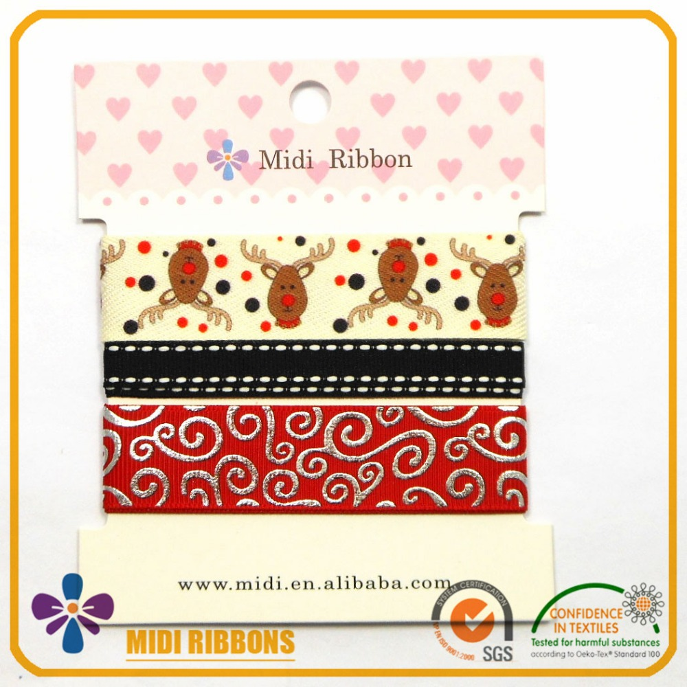 Midi personalized christmas printed gift ribbon for packaging