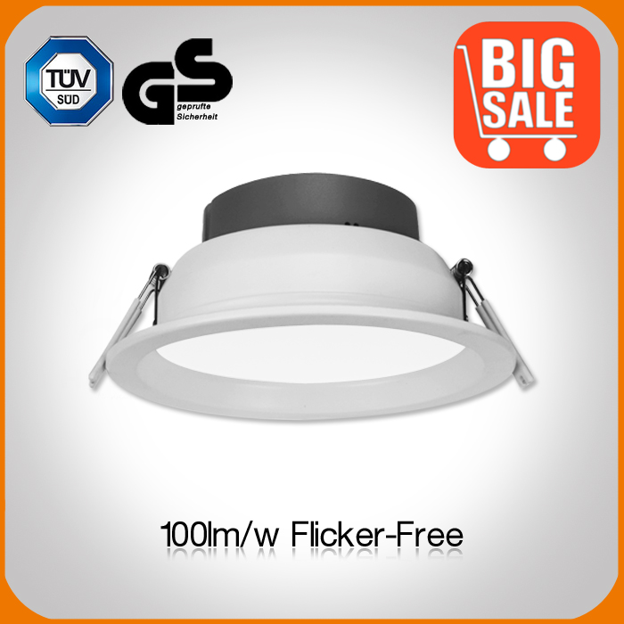 Flicker free 100lm/w 110mm cut hole 4inch recessed led downlight