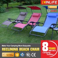 High strength durable powder coated steel frame folding reclining beach chair with canopy
