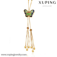 42356 xuping imitation jewels, 23K gold Plated Brass colorful Butterfly <strong>Necklace</strong>