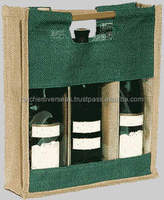 Eco friendly printed natural promotional jute wine bag for shopping and promotional