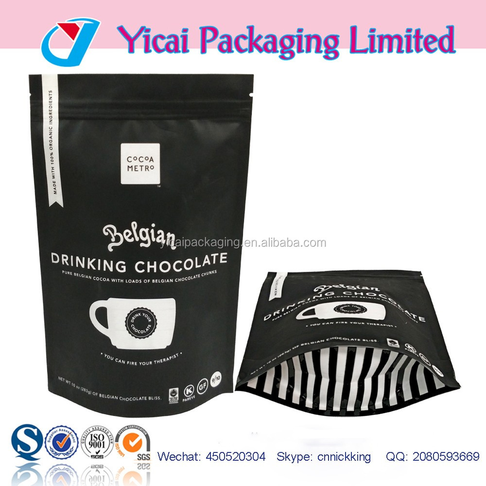 Custom printed plastic stand Up ziplock food pouch bag with zipper and window