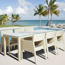 6 seater white rattan elegant poolside restaurant outdoor furniture with armchair and dining long table