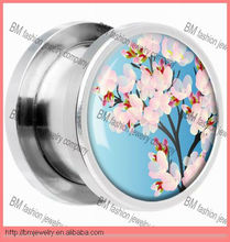 Kimono Sakura Blossom Flower Screw Ear Plugs Piercing Body Jewelry
