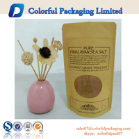 Custom Printed high quality kraft paper bag with window for 454g salt packaging bag