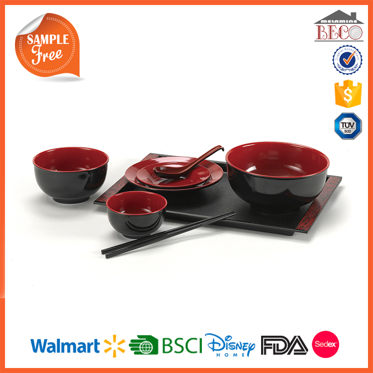 Black And Red Two Tone Color Plastic Melamine Chinese Restaurant Tableware