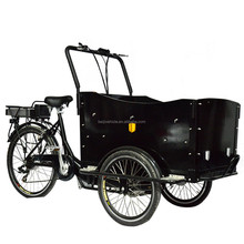 Electric pedal assisted cargo tricycle with two wheel in front