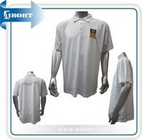 Custom made printed and embroidered white polo shirts