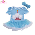 Newborn Infant Baby Girls Outfits Happy Birthday Day Short Sleeve Romper Dress With Hairband