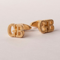 Initial Cufflinks in stainless steel gold colour, Custom Monogram Cufflinks Groom Wedding gift for mens