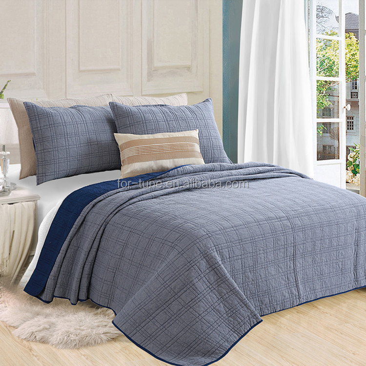 thin satin hotel cotton quilt bedspread with factory price