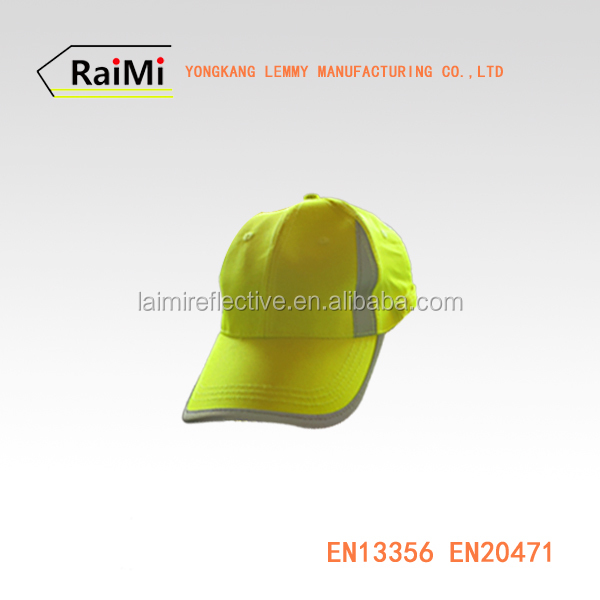 Short Brim Dry Fit green Hats high visibility Reflective Piping Trim cap