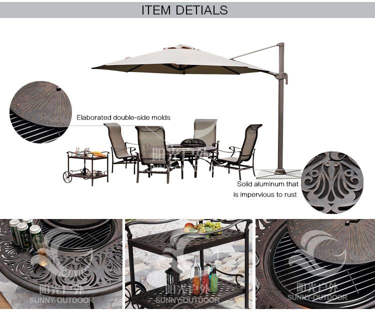 Usine Directe Haute Qualité en plein air meubles de jardin en fonte d'aluminium