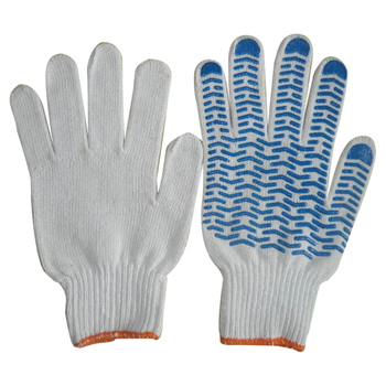 Brand MHR PVC Dotted Natural White Cotton work Glove,safety work gloves