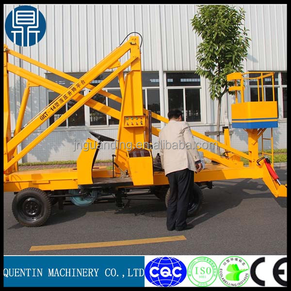 14m the crank arm type overhead working truck/Walking and collapsible elevating platform