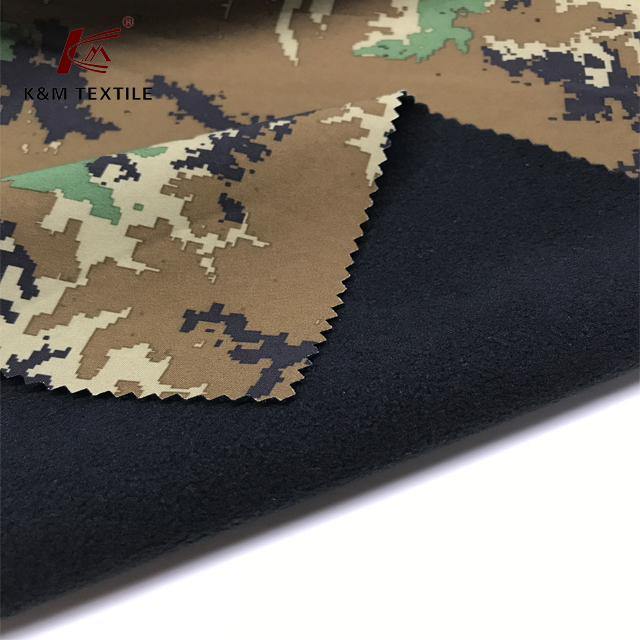 camouflage printed antipilling polar fleece bonded 4way stretch woven fabric camouflage jacket