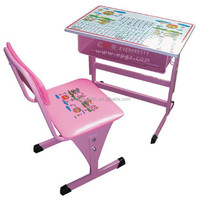 Cartoon School Desk and Chair Colorful Table Desk and Single Seat School Furniture