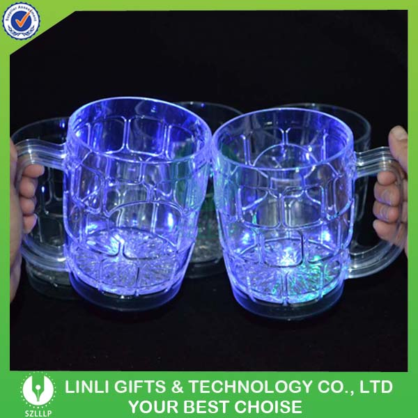 Multicolor Plastic Light Up LED Beer Cup,Colorful Flashing RGB Blinking Beer Cup,550ML Led Lighting Rainbow Cola Glass