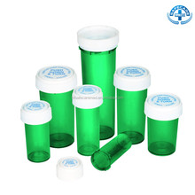 Pop-Up Plastic Green Reversible Medicine Pill Pharmacial Vials Bottles 8Dr,13Dr,16Dr,20Dr,30Dr,40Dr,60Dr