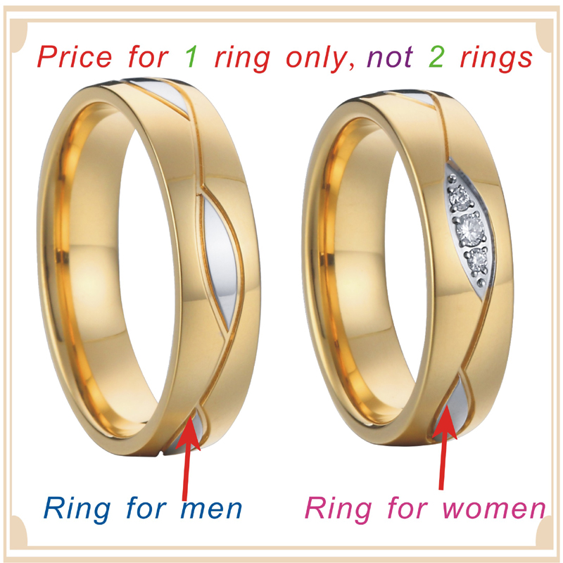 engagement wedding rings alliance high quality gold plated surgical grade stainless steel jewelry  P1403 ring for 1