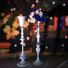 wholesale beautiful gorgeous white lacquered metal pillars stands flowers/flower stand for wedding/wedding walkway pillars