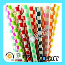 Events and Party Supply Checked Mix Paper Straws
