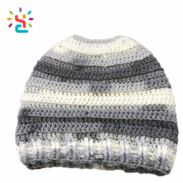 Striped Gradient color beanies hat two tone merino wool Knitted Designer Fold up eye holes ponytail beanie hat