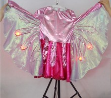 Custom LED light flower fancy cosplay dress costumes with wing