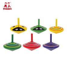 In stock 6 styles colorful ladybird children toy wooden spinning top for kids 3+