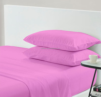 cheap microfiber solid color bed sheet set from China 10years factory