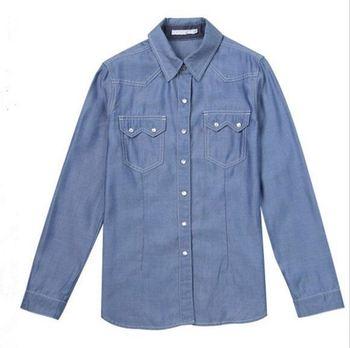 Latest Arrival Good Quality short sleeve denim shirt for women wholesale
