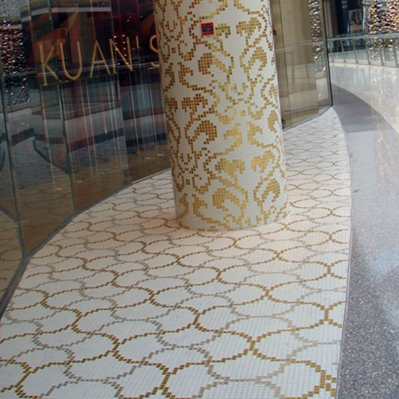 LJ JY-P-L01 Liaisons Pattern Golden and Silver Vitrified Tiles Price Glass Mosaic Floor Tiles Design Pictures