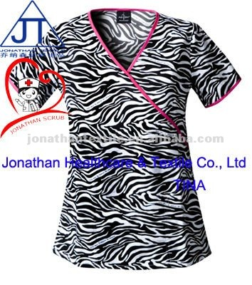 Tunic zebra print scrubs tops/animal print fashionable nurse scrub top