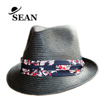Woven paper fedora straw hats for lady summer with flower fabric decoration