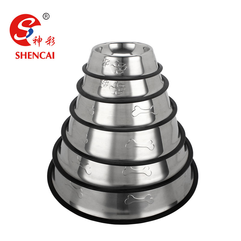Stainless Steel Rubber Dog Bowl Travel Pet Food Bowl