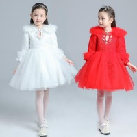 Hot sell popular O neck long sleeve thicken winter puffy Acrylic lace kids princess flower girl birthday wedding party dress