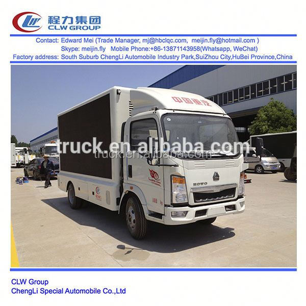 Howo 100 Hp 4*2 type P10 LED advertising mini truck for sale