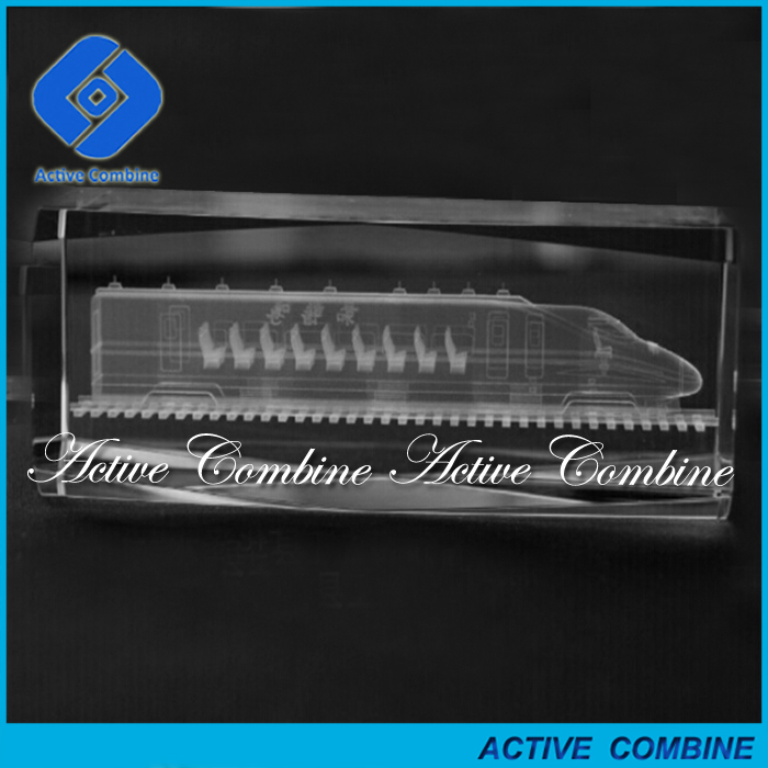 high quality train themed white single head 3d laser engraved crystal glass