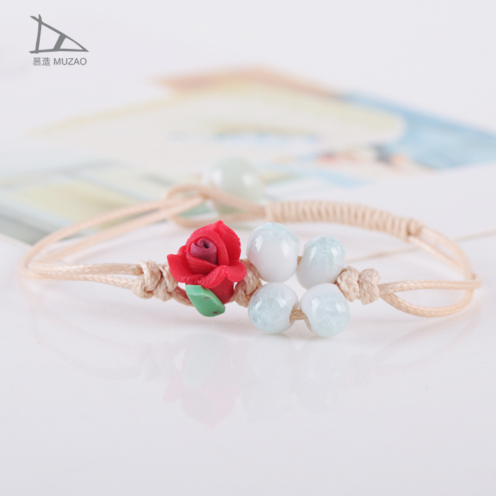 soft ceramic flower with ice crack beads wholesale beads korean clay bracelet
